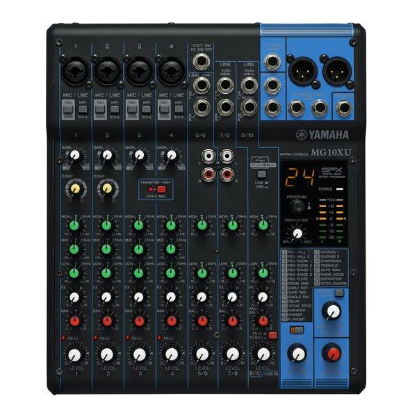 【六絃樂器】全新 Yamaha MG10XU 混音器 內建SPX效果 USB功能 / 舞台音響設備 專業PA器材