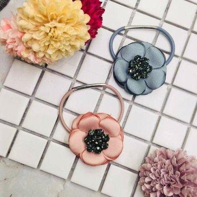 現貨 供應 茉莉 正韓 質感 髮飾 韓國 飾品 兩色各一 燒花 花朵 水鑽 髮束
