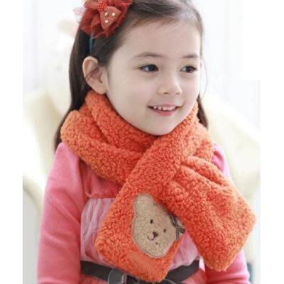 小熊兒童可愛保暖超柔毛絨圍巾 圍脖~超可愛捲捲Q毛絨絨小熊 保暖柔軟圍巾~米色賣場~
