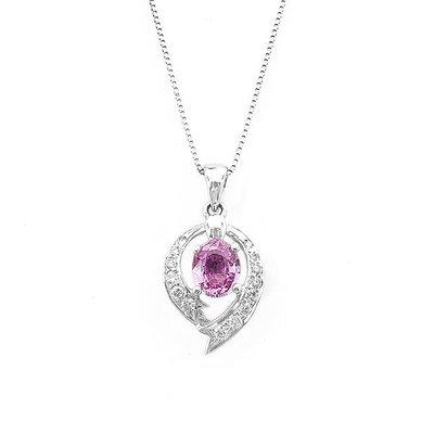 【JHT 金宏總珠寶/GIA鑽石專賣】0.737ct天然粉剛鑽墜/材質:14K(Z00007)