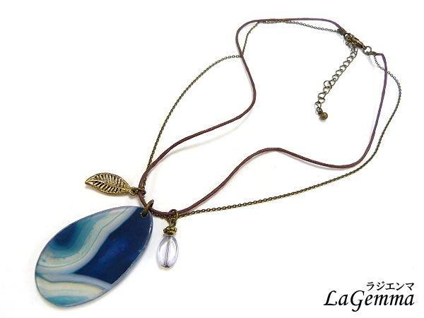♥寶峻飾品♥原價$160~湛藍海洋瑪瑙片墜項鍊 SPS-428 北歐風情,綺麗漸層紋路漾麗
