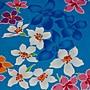 油桐花(藍色花影) 純棉花布 90cm寬 被單布/ ...