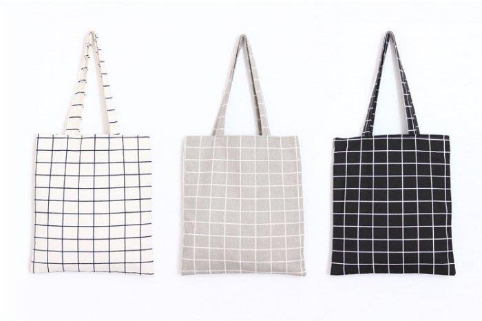 新品上市~ 個性黑白格子棉麻布包原創手工單肩手提包包 學生書包 購物包