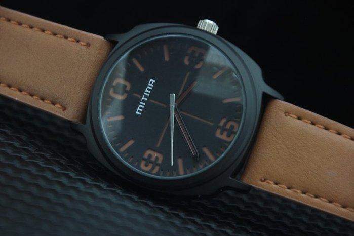 艾曼達精品~mitina軍風pilot style飛行風戰鬥機儀錶板,造型石英錶,清晰刻度棕色錶帶