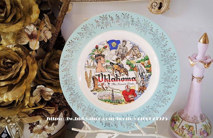 妍媽咪ㄉ西洋古董~ 美國 俄克拉荷馬州1960  紀念瓷盤~ Vintage 復古 珠寶