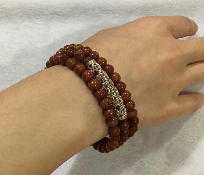 珍奇翡翠珠寶首飾-手鍊系列-老坑種,褐紅翡,6mm手鍊珠鍊,搭配925銀招財配件,垂墜部份為金沙石
