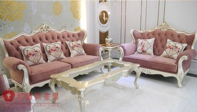 [紅蘋果傢俱]  04新古典玫瑰布沙發...