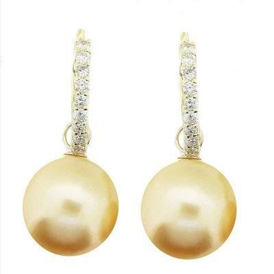 【JHT金宏總珠寶/GIA鑽石專賣】天然黃金珠鑽石耳環/材質:18K(JB41-B41)