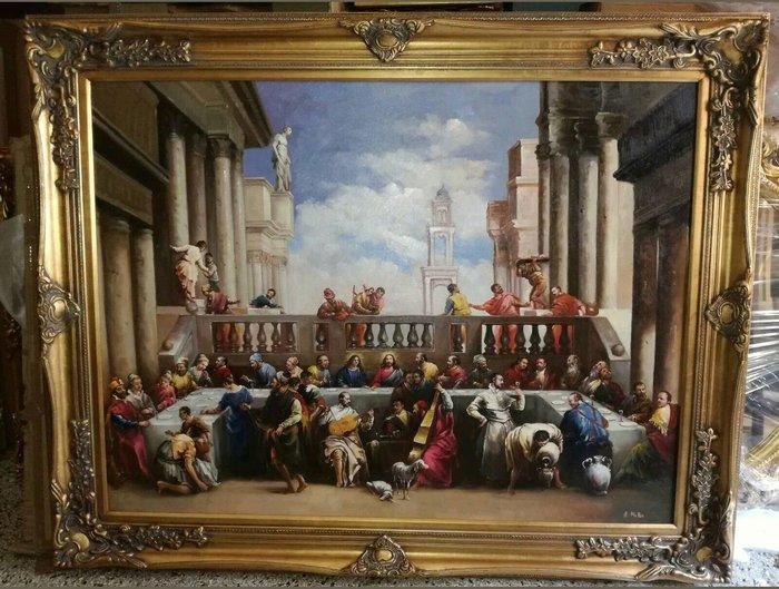 【波賽頓-歐洲古董拍賣】歐洲/西洋古董 意大利早期 19世紀 大型手繪達文西最後的晚餐人物油畫(尺寸:145x115公分)(落款:Muller)
