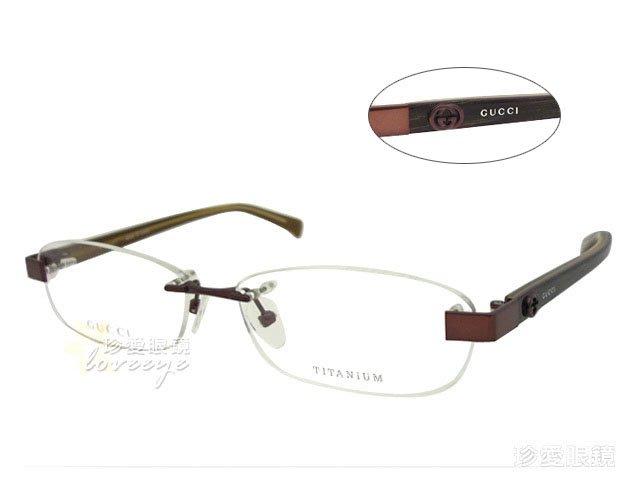 【珍愛眼鏡館】GUCCI 古馳 日本製 純鈦材質無框光學眼鏡 GG9660J 深紅棕 公司貨正品 # 9660