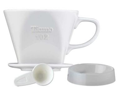 【享盈餐具HG5047】Tiamo 102陶瓷咖啡濾杯組附滴水盤量匙(白色)