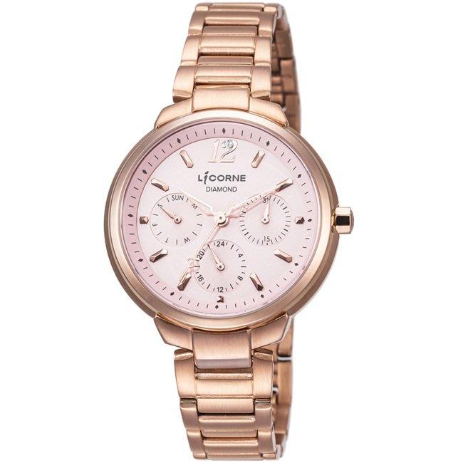 [時間達人]LICORNE力抗錶永恆時光真鑽系列 凡爾賽名媛手錶 玫瑰金/粉 三眼錶、水晶面LT127LRPI原廠公司貨
