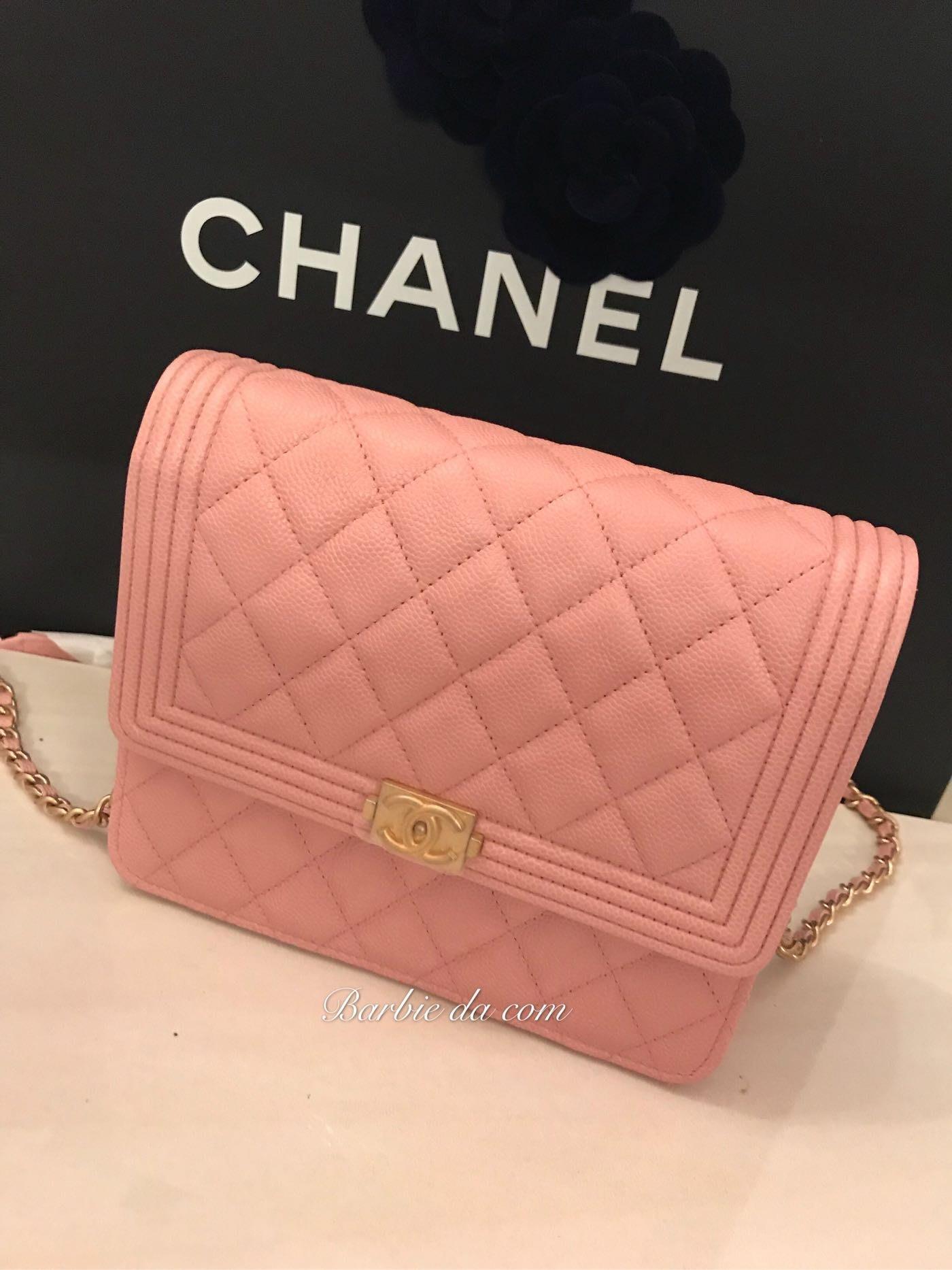 Chanel boy woc 方 包 粉紅 荔枝 金鏈 全新 正品 square