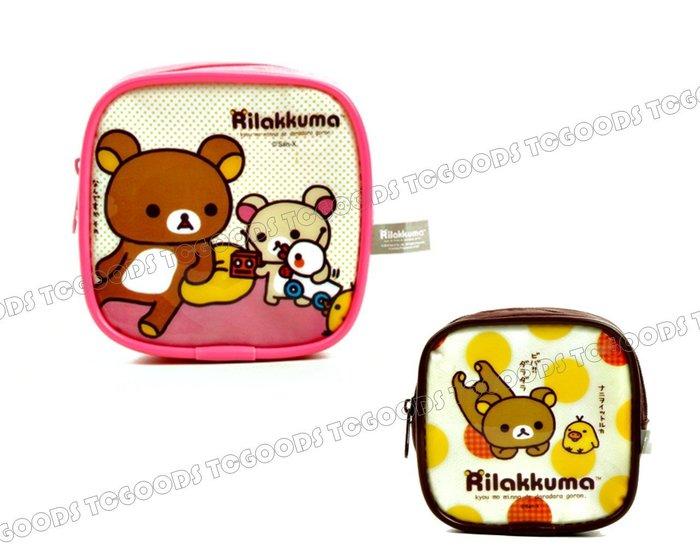 ~台中好物~  懶懶熊 拉拉熊 輕鬆小熊Rilakkuma 方型正方防水立體拉鍊化妝包 收