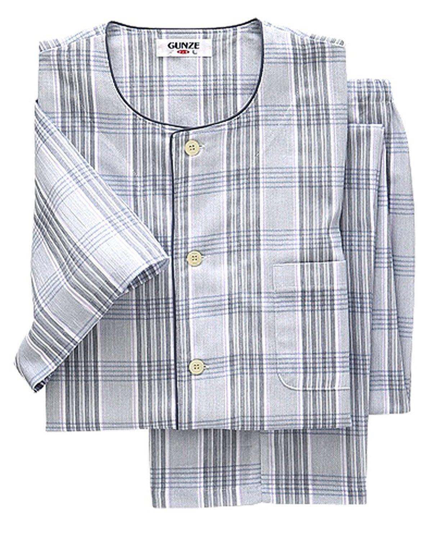 日本Gunze純棉100%郡是 男士睡衣套裝 純棉 短袖圓領搭配長褲 吸汗 速乾 涼感 透氣冷氣睡衣 日本男士成套睡衣