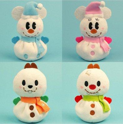 尼德斯Nydus~* 日本正版 迪士尼 Q版 TSUM 冬季 聖誕節限定 雪人版 米奇 米妮 奇奇蒂蒂 11x7x5cm