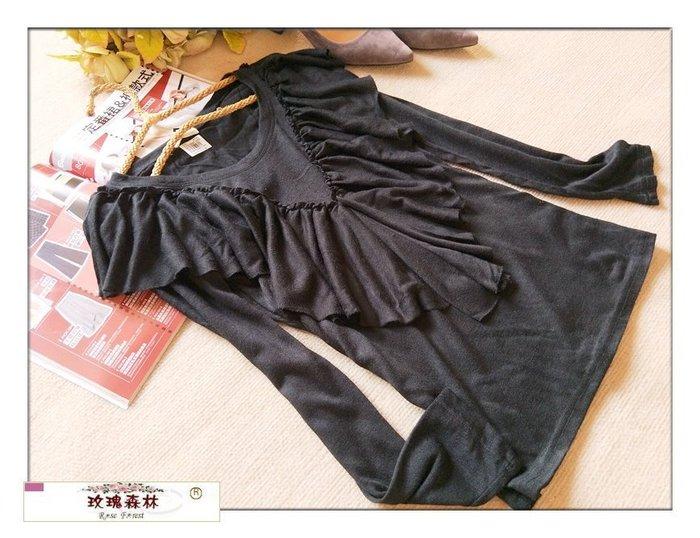 玫瑰森林-- ☆°*美麗嚴選~浪漫秋冬 垂墜荷葉邊 彈性針織長袖上衣 (特價) 黑色