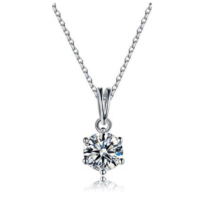 爪镶 0.5克拉高碳仿真鑽石項鏈女鑽 特價$1490 韓版飾品 精工爪鑲單碳原子純銀鍍鉑金  FOREVER鑽寶