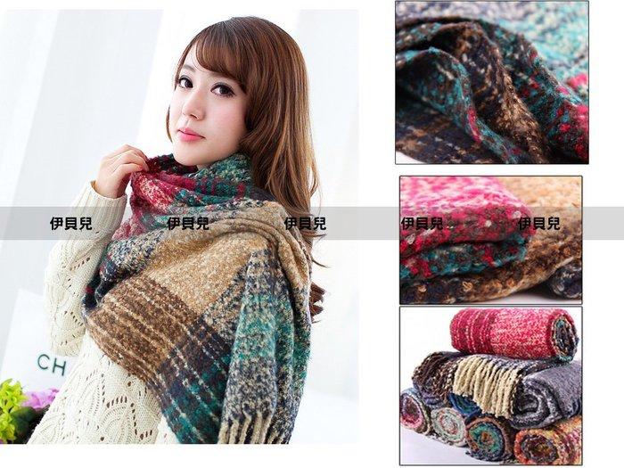 伊貝兒~( )SE8038)今冬限定 .暖心冬織.溫暖手感混色格紋毛料流蘇圍巾 脖套 3色