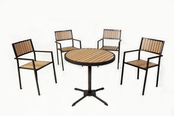 [兄弟牌戶外休閒傢俱] 塑木圓桌1張+鋁合金塑木椅4張/組合~餐飲營業或自用陽台公園,堅固耐久用好維持。庭院休閒傢俱.
