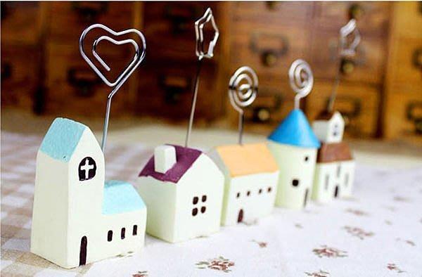 ZAKKA地中海 希臘風情小屋留言夾/名片/便條照片夾 房子造型名片夾 婚禮小物