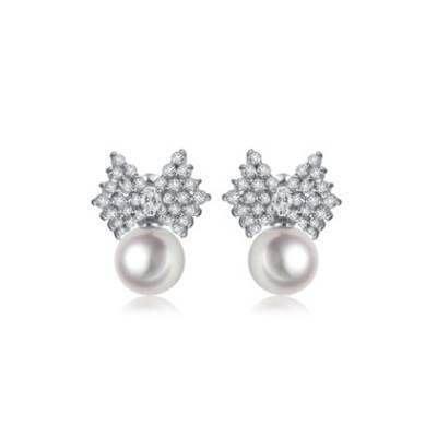 耳環 純銀鍍白金鑲鑽耳飾- 精緻簡約蝴蝶結生日情人節 女飾品73cr395    巴黎