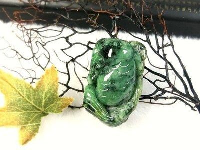 □§Disk的天然水晶§□【財祿豐收】老坑冰種花青飄陽綠翡翠 鯉魚蓮葉雕墜KG36(39x24x16.5mm25克)