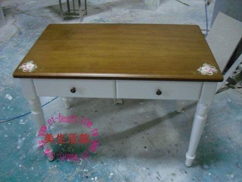 美生活館-全實木鄉村彩繪家具-普羅旺斯溫馨玫瑰3.5尺雙色書桌--可改色可訂製