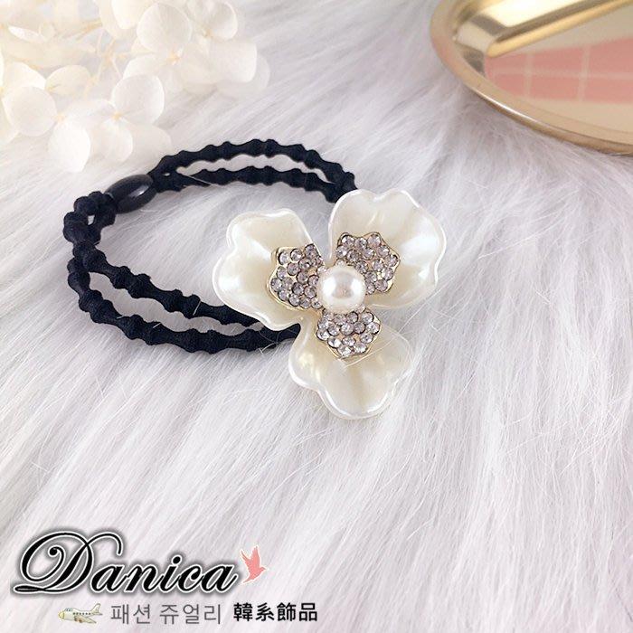 髮束 現貨 韓國熱賣 氣質甜美 小香風 雙層花朵珍珠水鑽 髮飾K7256 單個價 Danica 韓系飾品 韓國連線
