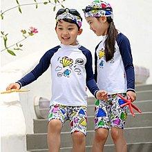 兒童泳裝╭~°來福艾妮 ~F48泳衣花巧塗鴉兒童泳衣長袖防曬小朋友游泳衣中大童泳裝正品,售