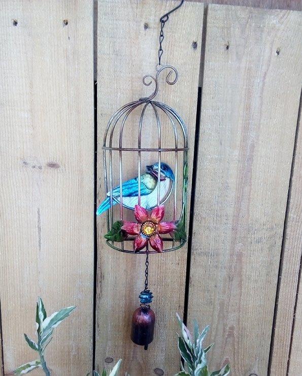 【浪漫349】鐵+玻璃 鮮彩鳥籠造型銅鈴吊飾掛飾  KR-20單個價