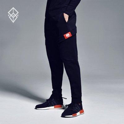 【OTOKO Men's Boutique】固制:有种部队运动双口袋修身缩口裤/黑色