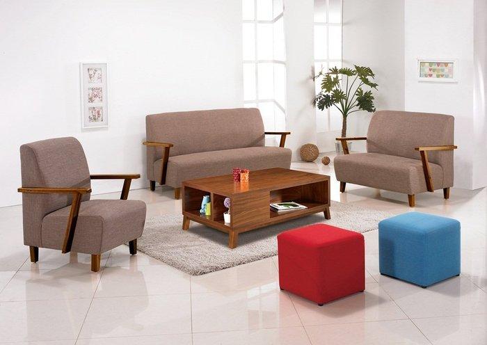 【DH】商品貨號n691-A名稱《維納》胡桃色布面1.2.3木製沙發組(不含大茶几方櫈椅)備有綠皮色。主要地區免運費