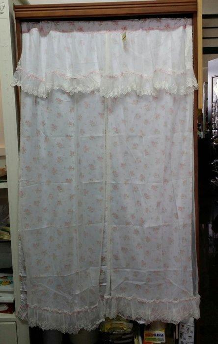 美生活館--全新鄉村風格拼布 玫瑰花 蕾絲 刺繡 薄紗 雙層 長門簾/裝飾簾/櫃簾/窗簾90*150 cm