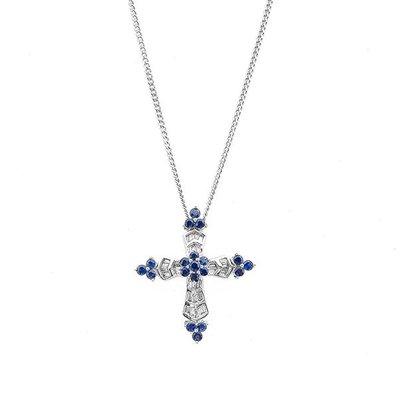 【JHT 金宏總珠寶/GIA鑽石專賣】天然十字藍寶鑽石項鍊/材質:18K(JB20-C25)