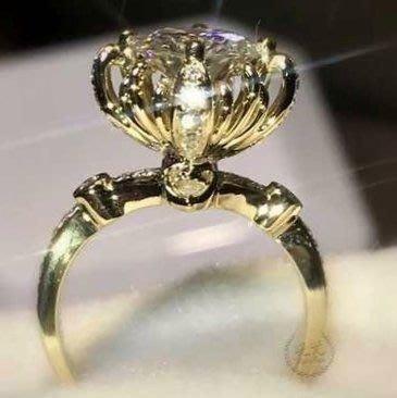 超低特價菊花花女戒鑽戒2克拉 求婚 結婚 情人節禮物 925純銀鍍鉑金指環  視覺像2.5克拉 FOREVER鑽寶