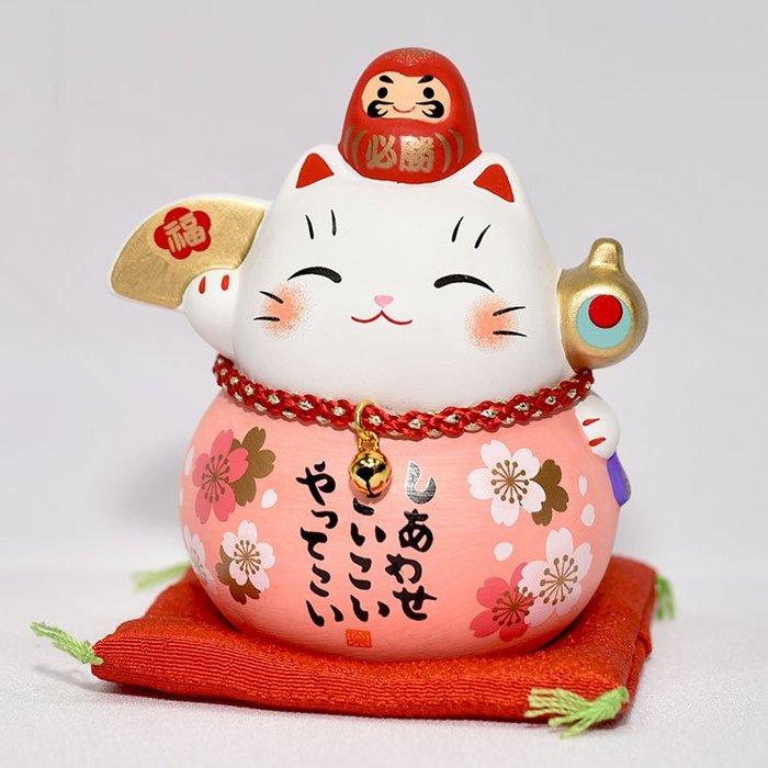 金福槌 櫻花 招福招財貓 日本製 藥師窯 吉祥物 金運來福