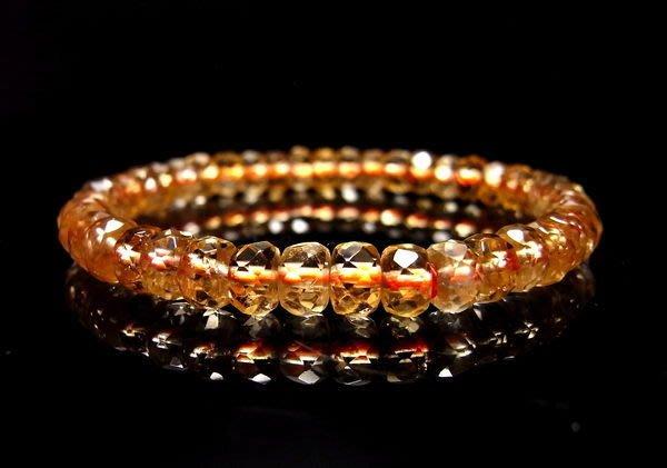 小風鈴~天然高檔AA級清料黃水晶鑽切面角度車輪型手鍊 ~ 財運石 (單條起標)