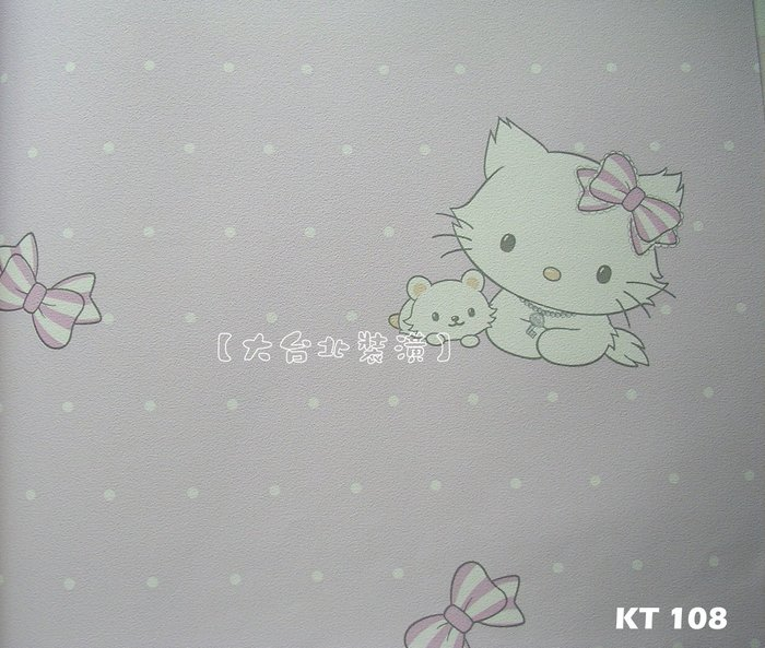 【大台北裝潢】Sanrio三麗鷗卡通壁紙* 蝴蝶結寵物瑪莉貓Charmmy Kitty 每支1000元