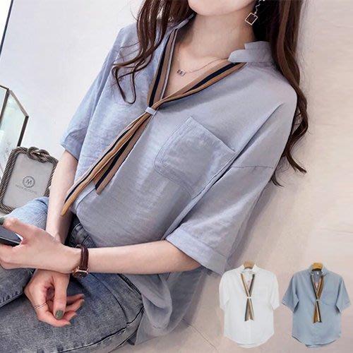 衣貝拉 - 韩版V領條紋領巾带短袖上衣 襯衫《2色》【28536】 Elbeira