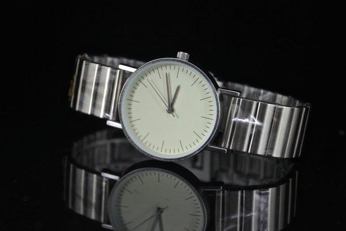 無logo~中性款式都會時尚風格造型石英錶,清晰刻度不鏽鋼單折釦錶帶日本miyota石英機芯
