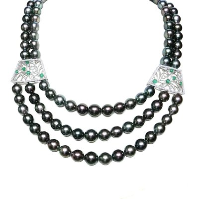 【JHT金宏總珠寶/GIA鑽石專賣】天然鑽石黑珍珠串鍊/材質:18K(PP00064)