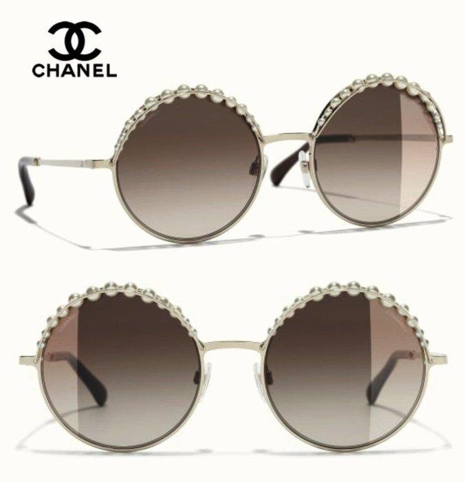 CHANEL香奈兒►(金屬淡金色框×經典珍珠×深棕色漸層鏡片)圓框框型  太陽眼鏡 墨鏡|100%全新正品|特價!
