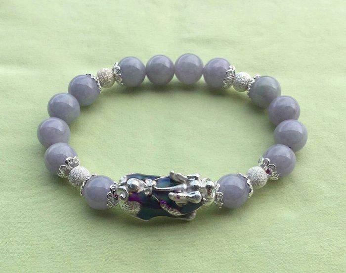 珍奇翡翠珠寶首飾-收藏級翡翠-天然緬甸玉A貨-冰艷紫羅蘭手鍊,設計款,見光不死,保證a貨,搭配925銀變色貔貅