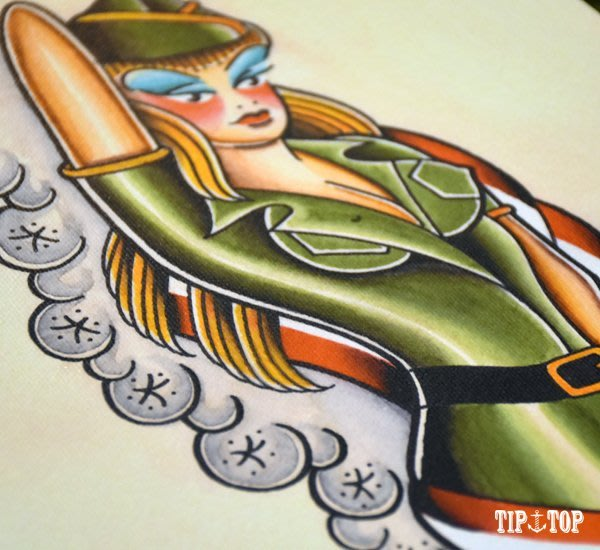 GOODFORIT / 南加州Tip Top Tattoo Parlor畫報女郎畫作/陸軍女郎(21.5x43CM)