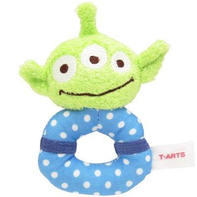 尼德斯Nydus 日本正版 迪士尼  玩具總動員 三眼怪 Alien 嬰兒玩具 嬰兒用品 絨毛玩偶 手搖鈴鐺