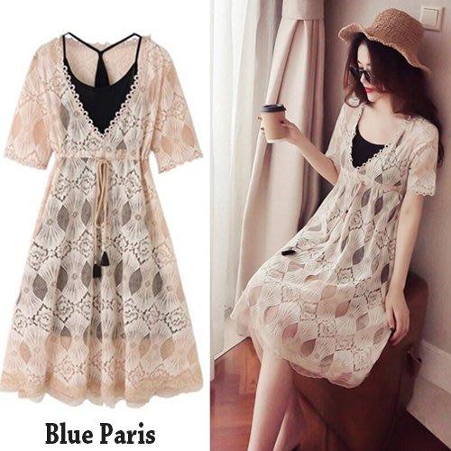 Elbeira  氣質款幾何圖型雕花網紗兩件式洋裝 / 連身裙 (附小可愛)《2色》【28388】