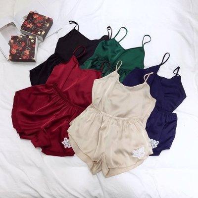 【Casi Cielo】V18301 春夏 超推薦兩件式緞面睡衣 細帶背心短褲 家居服 (黑色藍色酒紅綠色米色)