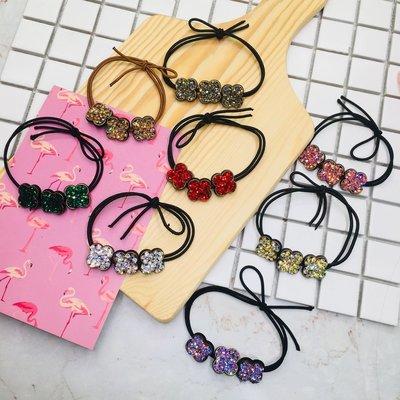 現貨 供應 茉莉 正韓 質感 髮飾 韓國 飾品 八色 水鑽 幸運草 髮束