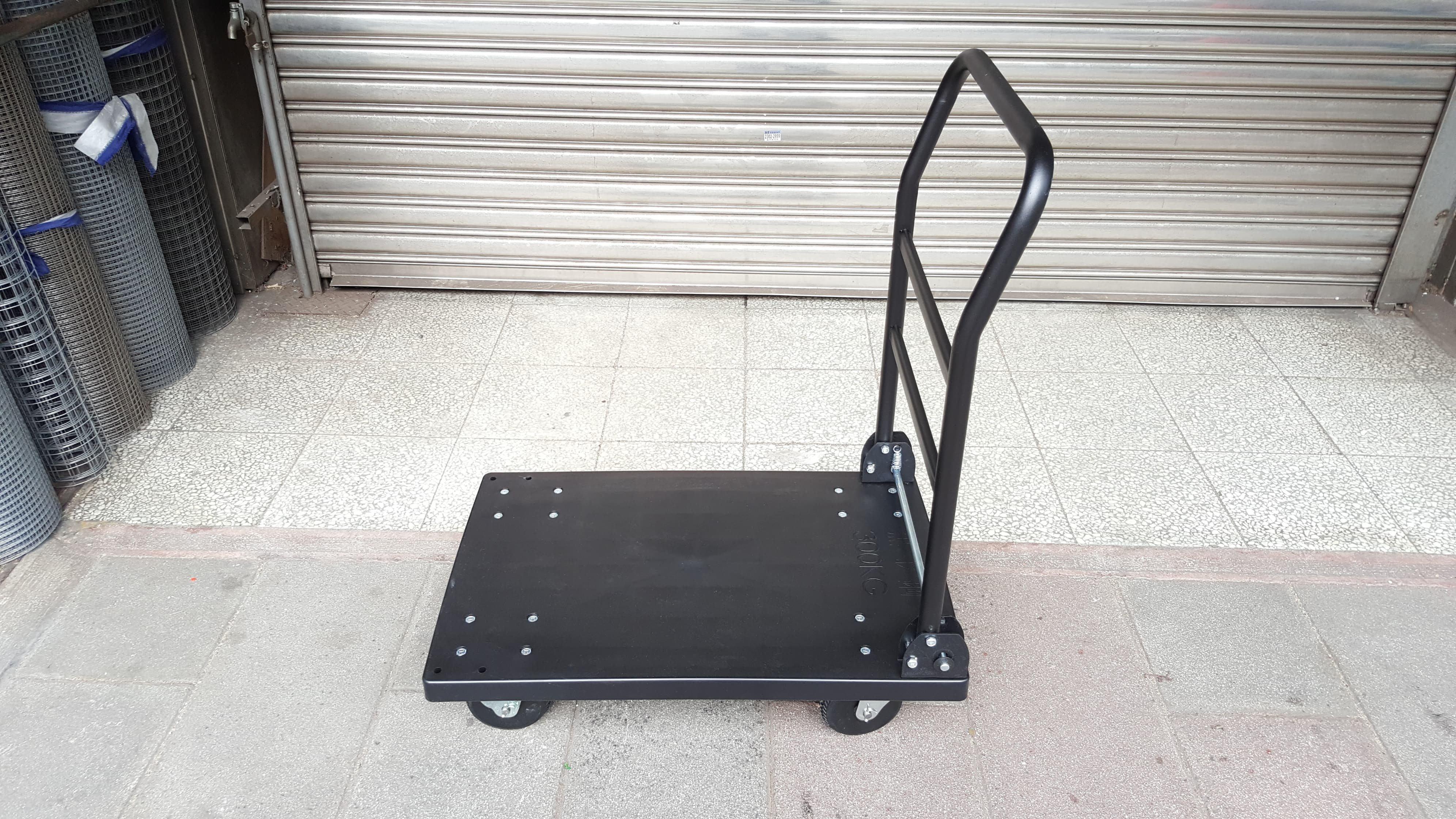 ㊣(專業手推車經銷商)㊣5吋橡膠銑鐵輪黑金鋼塑鋼手推車